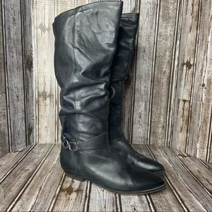 Dingo black leather slouch boots - knee high - size 8.5